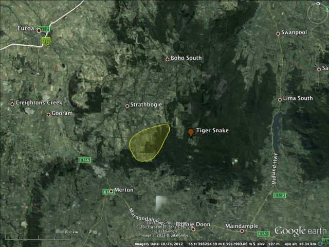 Location of confirmed (brown placemark) and anecdotal Tiger Snake records in the eastern Strathbogie Ranges.
