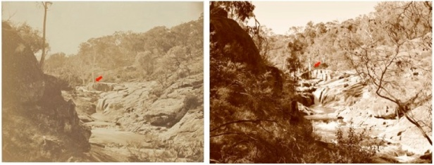 Gooram Falls in 1874 (L) and 2014 (R). Note the two big red gums behind the large rock [arrowed]