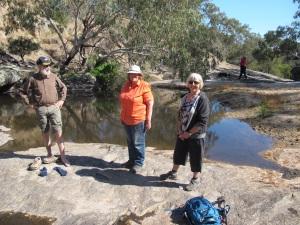 Ruffy Weekend walkers exploring Hughes Creek middle reaches