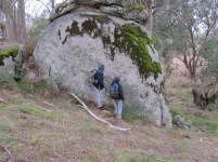 Looking for garnets in the granite