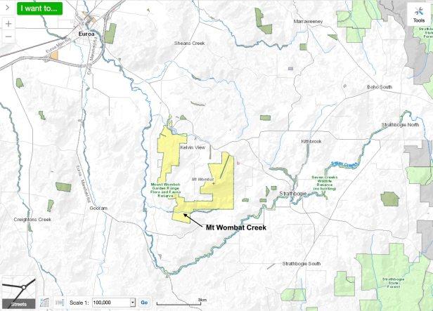 Mt Wombat Garden Range map