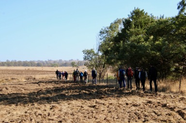 Heading alongside ploughed ground