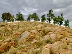 The rocky slope below the crest of the hillock.