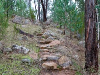 There are some short steep inclines. This one is made easier and more stable by a rocky stairway.